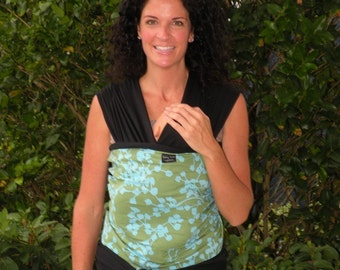 Baby Sling Wrap Carrier-Organic Cotton-  Lime Blue Coriander On Black-Instructional DvD Included-One Size Fits All