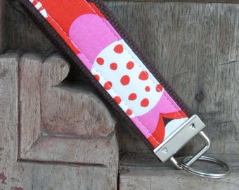 READY TO SHIP-Beautiful Key Fob/Keychain/Wristlet-Orange Floral