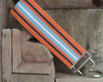 READY TO SHIP-Beautiful Key Fob/Keychain/Wristlet-Orange/Blue Stripes