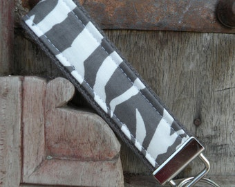 READY TO SHIP-Beautiful Key Fob/Keychain/Wristlet-Gray Zebra on Gray