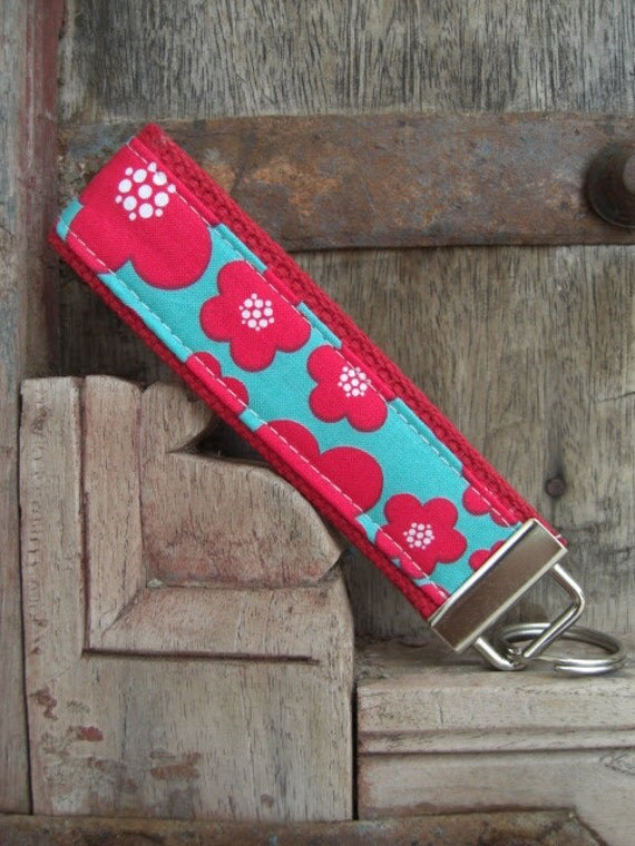 READY TO SHIP-Beautiful Key Fob/Keychain/Wristlet-Blossoms on Red