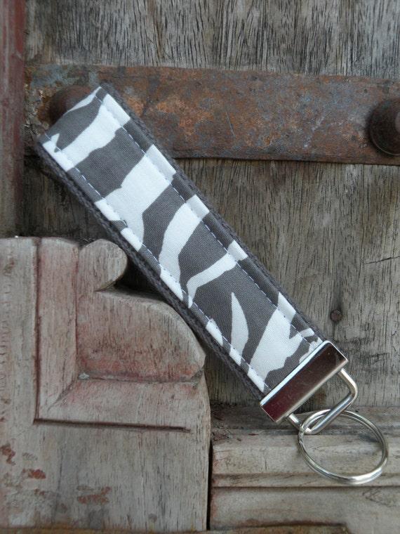 READY TO SHIP-Beautiful Key Fob/Keychain/Wristlet-Gray Zebra on Gray