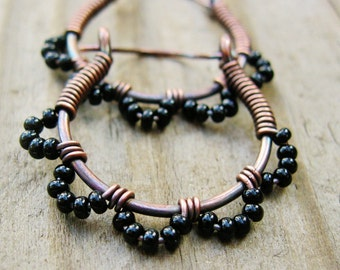 Black Ruffle Bottom Hoops - wire wrapped seed beaded hoop earrings antiqued copper cuties
