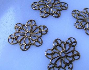 Exquisite Vintage Brass Filigree Floral Motif Stamping - 24X17 - four