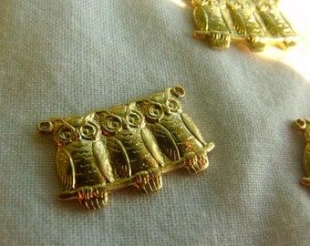 Three Owls Owl Babies Brass Charms Connectors 20x10mm 6 Pcs