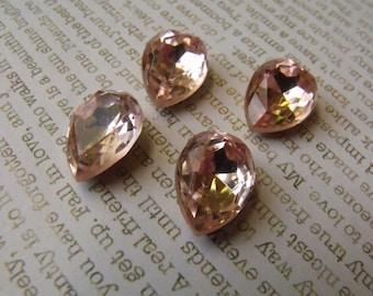 Rosaline 15x11mm Pear Glass Gems Foiled 4 Pcs