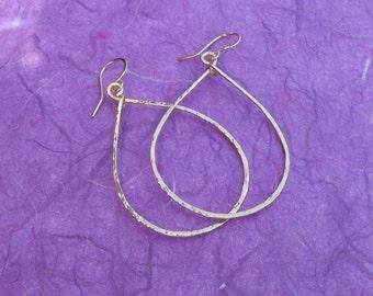 Tear drop hoops Hammered jewelry Big hammered gold filled teardrop earrings