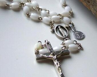1/2 OFF REDUCED Plastic Catholic Rosary with Cream Colored Beads, Catholic Rosary, Vintage, Etsy Jewelry, Gift, Etsy Vintage, Etsy Jewelry