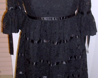 FUN and FUNKY Betsey Johnson Gothic Glam Ribbon and Lace Babydoll Dress