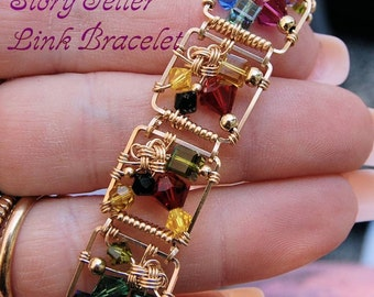 DIY Bracelet, Link Bracelet Pattern, Story Teller Link Bracelet, Wire Wrap Jewelry Bracelet Tutorial, How To Wire Wrap Bacelets, Instruction