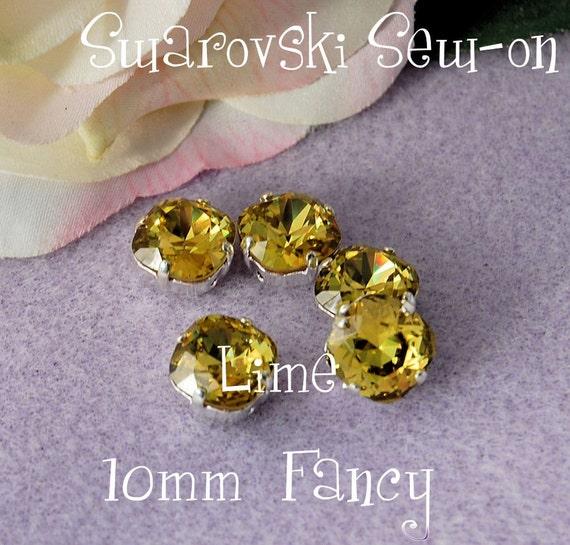 Lime, Vintage Swarovski Crystal, Sew On, 10mm Cushion Cut 4470, Crystal Sew On, Rhinestone Setting, Jewelry Making Rhinestone Setting