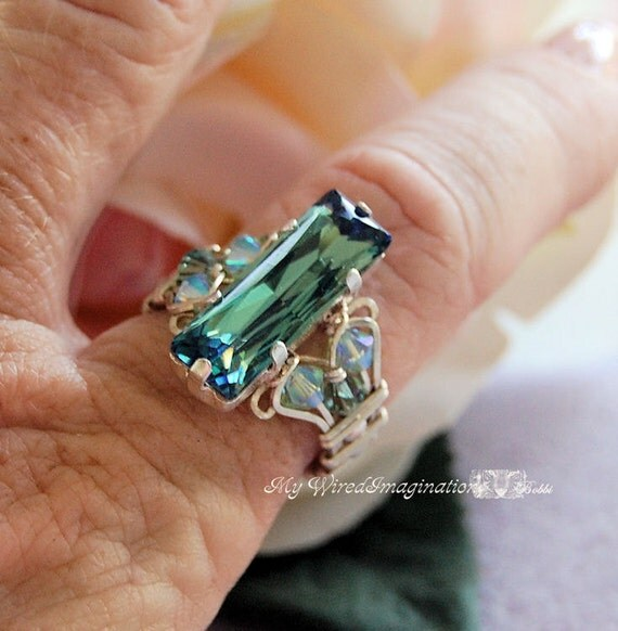 Erinite Waters Swarovski Crystal Wire Wrapped Ring Hand Crafted Statement Ring Original Signature Design Fine Jewelry