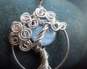 Kyanite Blue Moon and Tree Necklace
