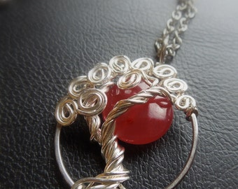 Ruby Moon Sterling silver tree necklace