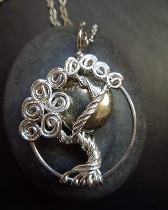 Pyrite Moon Tree of Life Necklace Sterling Silver