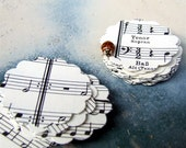 Sheet Music Stickers, Package of 20 handmade stickers reclaimed from vintage sheet music paper