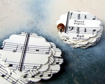Vintage Sheet Music Stickers, 20 Stickers Remade from Real Vintage Sheet Music, Paper Music Stickers, Scalloped Envelope Seals