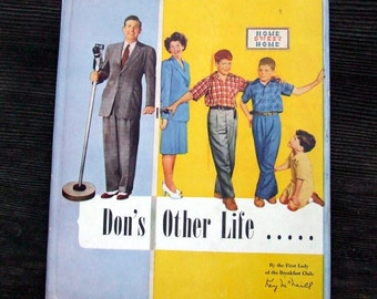Mid Century Vintage Book, Don's Other Life, Father's Day Gift, Biography of Radio Show Host Don Breneman by Kay McNeill, Family Photos