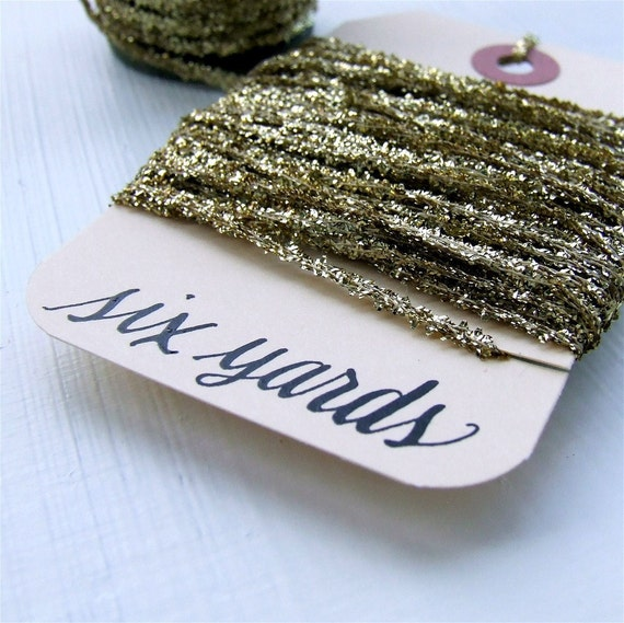 Gilded Gold Tinsel String, 6 yards of glittery, golden packaging twine for gift wrapping and crafts, Kisforcalligraphy