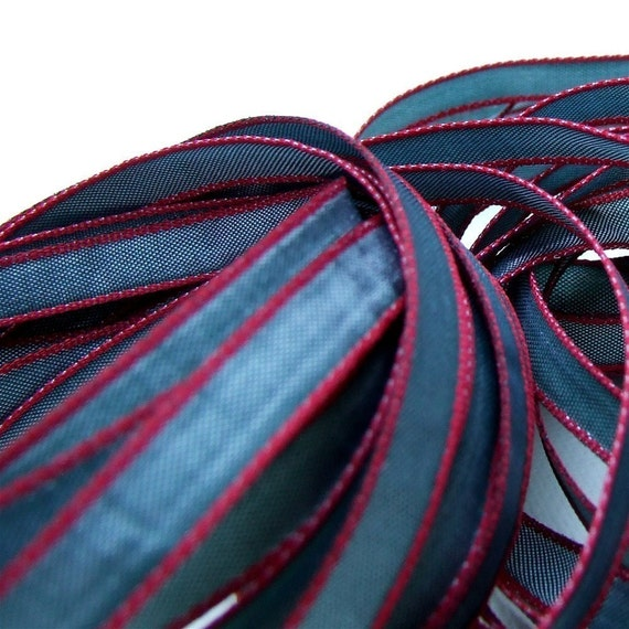 Gray Green plus Red Ribbon, 5 Yards, Luxe Ribbon, Decorative Trim, 1/4 inch, Holiday Gift Packaging Ribbon, Paper Crafting