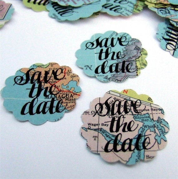 Save the Date Map Stickers, Hand Lettered Calligraphy, Destination Wedding, Vintage Atlas, Custom Envelope Seals