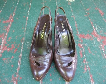 Take 20% off Vintage brown leather Halston heels made in Italy sz 8.5-9