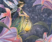 Fairy Art Print - Garden Fairy Lamp and Lilies - Garden Art