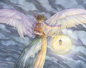 Angel Art Print Guardian Angel with Lamp Jesus