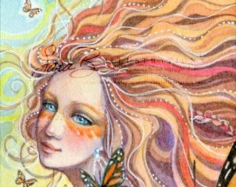 Fairy Art Print - ACEO Mini Monarch Butterflies - Tangerine Orange and Pearls - Fire Element