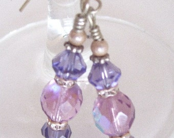 Passion Purple Earrings, Czech Glass Earrings, Lavender, Violet, Dangle Earrings