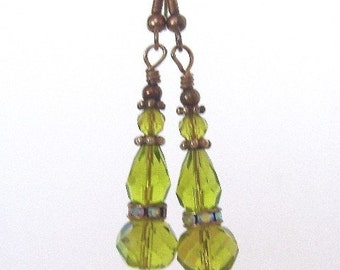 Peridot Green Earrings - Czech Glass Bead Earrings - August Birthstone Colors