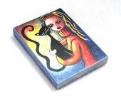 Cat Art on Wood Block, Black Cat & Girl Art Print, ACEO ATC, Drilled Hole w/Magnet, Artist Trading Card, Original Art Print, Blue Orange