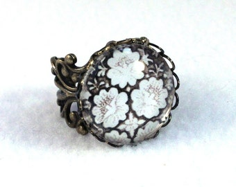 Flowers Ring Art Deco Filigree Ring, Victorian Cocktail Ring, Bronze Jewelry, Original Art Print, White Black