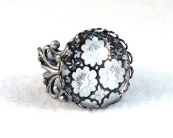 Flowers Ring, Silver Ring, Art Deco Filigree Ring, Victorian Cocktail Ring, Fashion Jewelry, Original Art Print, Black White