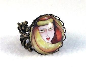 Girl Art Ring, Bronze Ring, Mediterranean Art Deco Filigree Ring, Cocktail Ring, Fashion Jewelry, Original Art Print, Yellow Mustard Orange