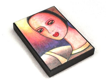 Fridge Magnet, Medieval Girl Art Print on Wood, ACEO ATC, Artist Trading Card, Original Art Print Pink Black