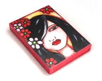 Wood Block Print, Hawaiian Girl Art, ACEO ATC, Artist Trading Card, Drilled Hole or Magnet, Watercolor Flower Girl Art, Black Red