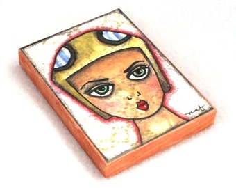Girl Art Print on Wood Block, ACEO ATC, Art Deco Female Aviator Art, Aviation Art, Watercolor Artist Trading Card, Art Print, Tan Beige