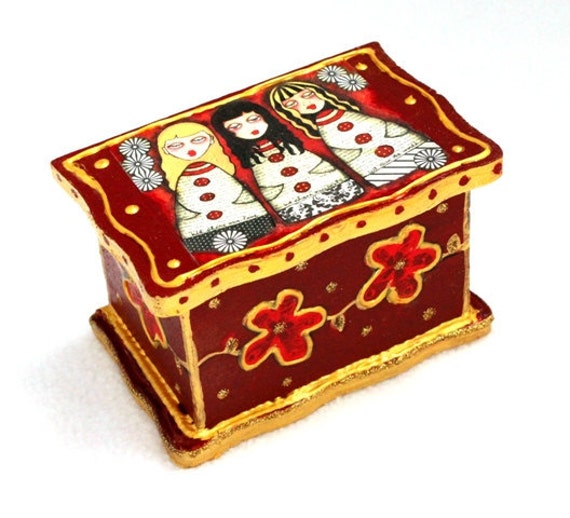 Wood Jewelry Box Girl Art Wooden Trinket Ring Box, Whimsical Earring Holder, Keepsake Box, Original Art Print, Burgundy Red