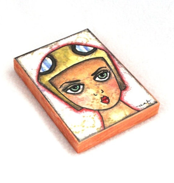 Girl Art Print on Wood Block, Fridge Magnet, ACEO ATC, Art Deco Aviator Art, Aviation Art, Artist Trading Card, Original Art Print Brown Tan