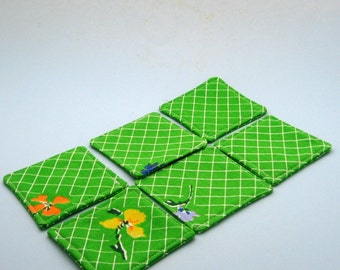 Handmade Upcycled Green Coasters Set of Six