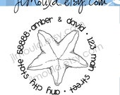Return Address Wedding Calligraphy Starfish Beach Mounted Wedding Clear Rubber Stamp 0078 (clear stamp)