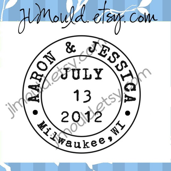 Save the Date Postage Wedding Custom  Mounted Address Clear Rubber Stamp 0116 (clear stamp)