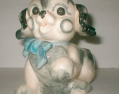 Vintage Ceramic  Puppy Planter - Japan  40s Paynes Gray Dog - Nursey Decor