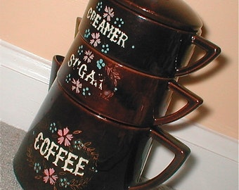Two Cup Coffee Pot and Stackable Creamer and Sugar Complete Coffee Serving Set