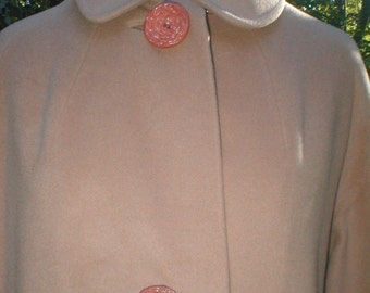 Cashmere Coat - Vintage Early 50s - Faun Beige Button Down with 3 Big Buttons