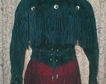 Vintage 80's Cowgirl Black Suede Fringe Jacket  -  Corseted At Waist and Sleeves - Size Small