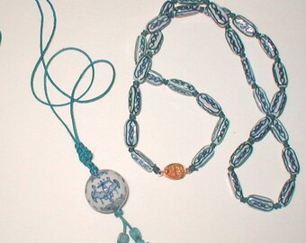 Flow Blue Porcelain Bead Necklaces  -  Strung on Cord - Vintage 1970s Jewelry