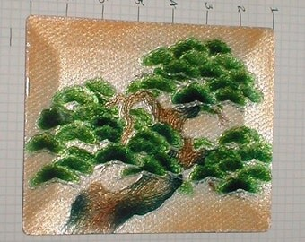 Enameled on Brass - Cliff Tree Plate - Japan Made-  Vintage 50s
