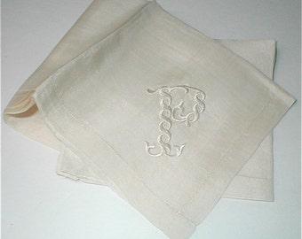 White Silk Handkerchief - Silk Embroidered P - 18 Inch Square